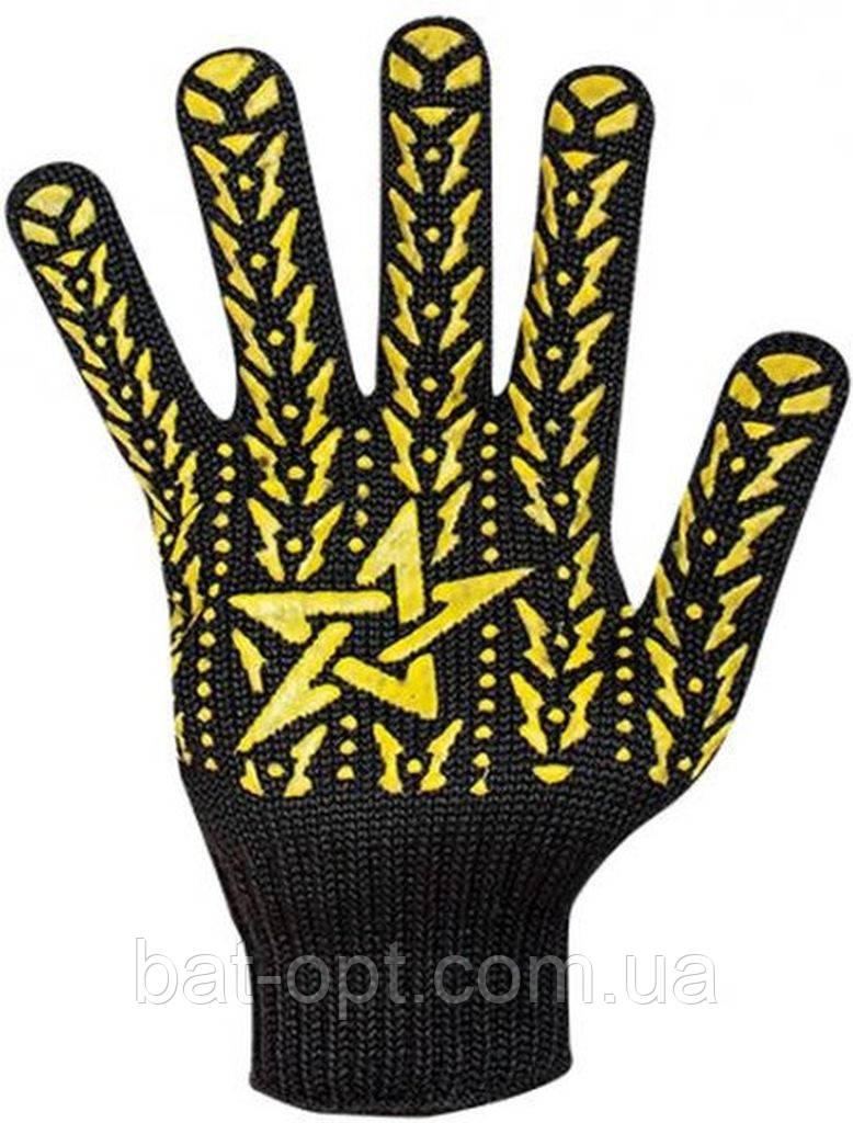 Перчатки DOLONI №562 Х/Б Черные 7 класс Звезда