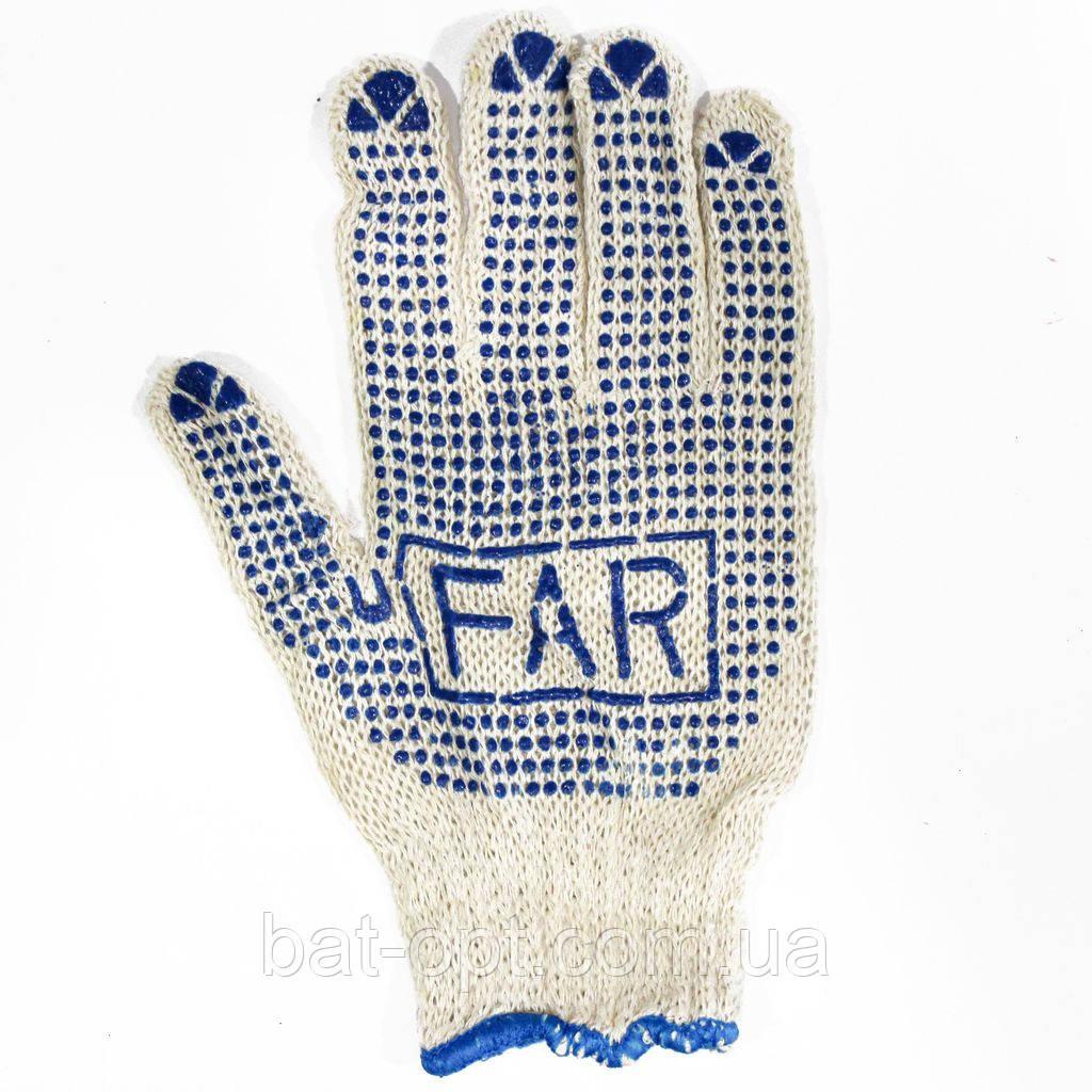 Перчатки рабочие FAR/KAPKAN белые с ПВХ точкой