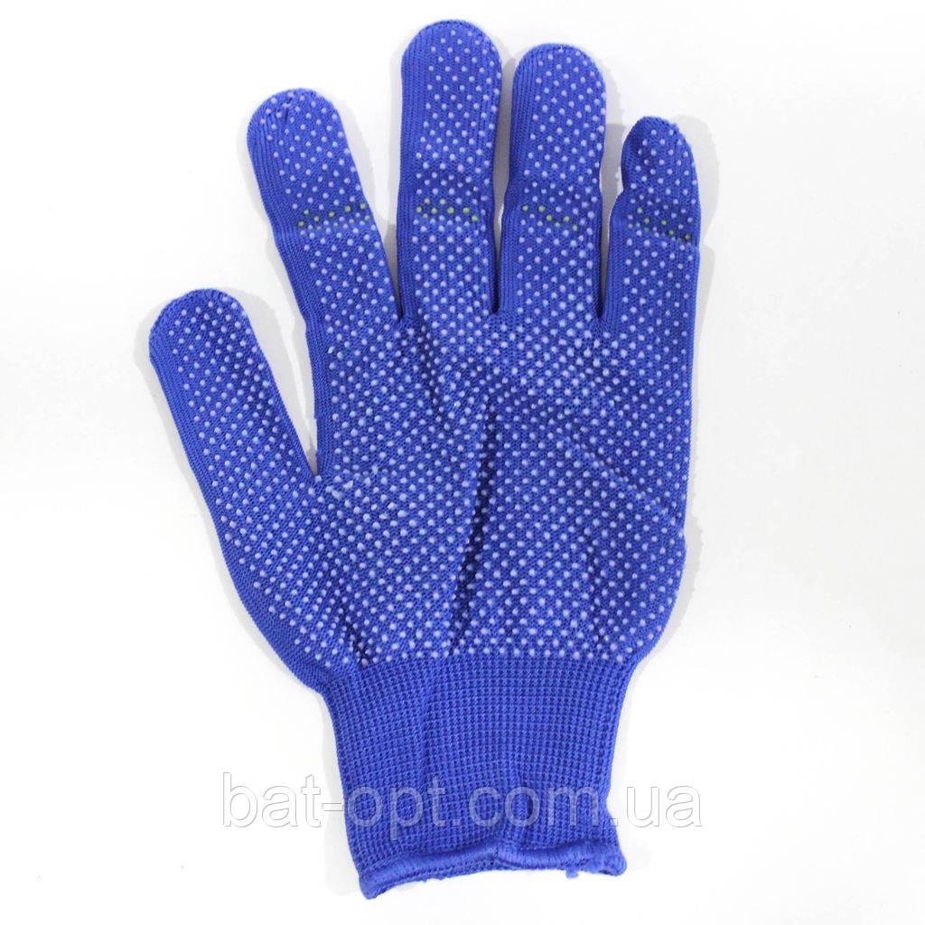 Перчатки микроточка, синие (12пар)