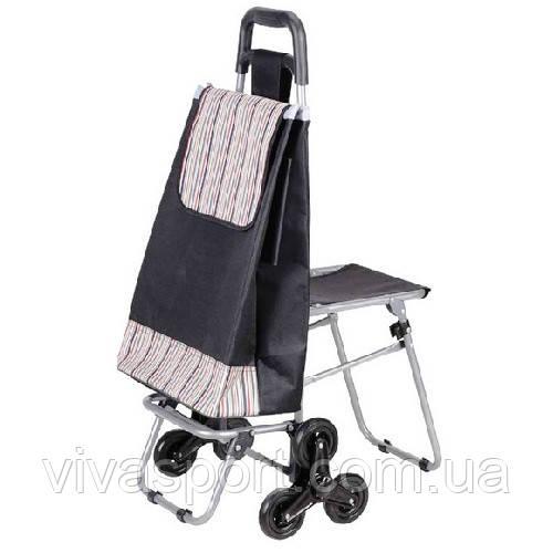 Сумка тележка на колесиках со складным стулом (6 колес)