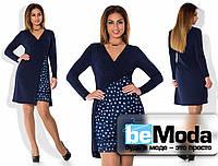 Молодежное платье на запах с оригинальной вставкой из шифона на юбке темно-синее