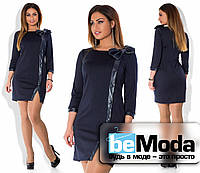 Приталенное женское платье больших размеров с отделкой из экокожи темно-синее