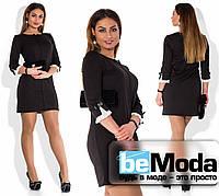Короткое женское платье для пышных дам с милой отделкой на рукавах черное