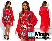 Нарядное женское платье больших размеров с шифоновой накидкой красное