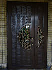 Металлические двери жатка со стеклопакетом и ковкой, фото 2