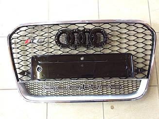 Решетка радиатора Audi A6 C7 2011-2014 стиль RS6 (хром обод, надпись Quattro)