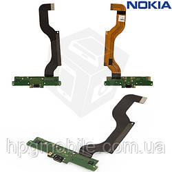 Шлейф для Nokia Lumia 1520, коннектора зарядки, с микрофоном, с компонентами, оригинал