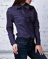 """Хлопковая офисная блузка """"Бант блюз"""", до 48 размера"""