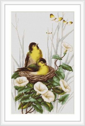 """Набор для вышивания нитками  """"Птички в гнездышке"""", фото 2"""