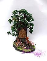"""1330-дерево из бисера """"Сказочный дуб"""""""