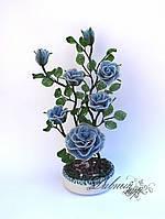 1326 -цветы из бисера -куст роз