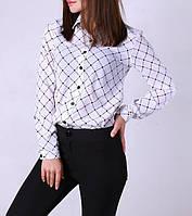 """Белая женская шифоновая блузка """"Сердце"""", до 48 размера"""