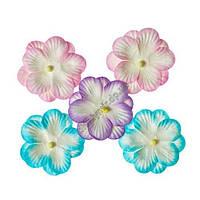 Братки, набір подвійних квітів із шовковичного паперу 5 штук, пастельний