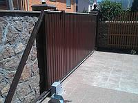 Откатные ворота — зашивка профнастил, фото 1