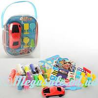 Тесто для лепки (пластилин для лепки) Super Car, 12 цветов: 3D форма машинки + инструменты + дорожны