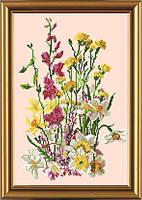 Полевые цветы. Схема на ткани для вышивания бисером