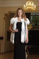 Жилет жилетка из полярной лисы, съемный воротник White fox fur vest with a detachable collar