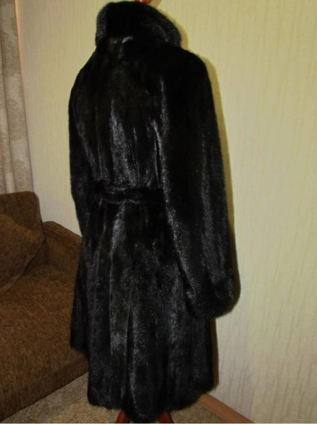Норковая шуба Black Brillian чёрный с поясом.