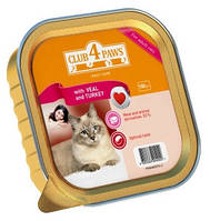Нежный паштет с телятиной и индейкой для котов, Клуб 4 лапы, 100 гр