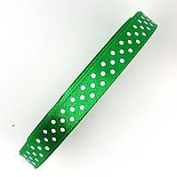 Лента в горох 1 см зеленая