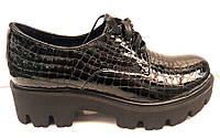 Туфли женские кожа рептилии на тракторной подошве Uk0193