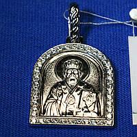 Иконка Николай Чудотворец из серебра с камнями 3730-ч, фото 1