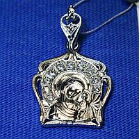 Серебряная иконка на шею Святая Богородица 3750-р