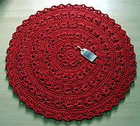 Коврик для пола вязаный ручной работы красный