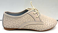 Туфли женские перфорация кожа бежевые Uk0196