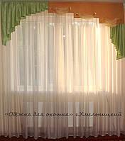 Жесткий ламбрекен Ступеньки салатовый 2,50м