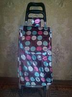 Тележка хозяйственная на колесах скоричневой атласной  сумкой в крупный цветной горох