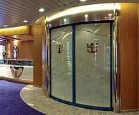 Радиусные автоматические двустворчатые стеклянніе двери