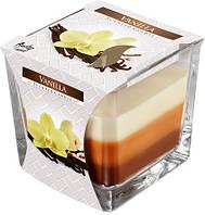 Свеча ароматизированная ваниль в стекле трехцветная