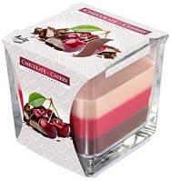 Шоколад-вишня свеча ароматическаая в стекле трехцветная