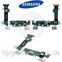 Шлейф для Samsung Galaxy S6 EDGE Plus G928, коннектора зарядки, с компонентами, оригинал