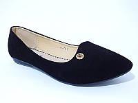 Замшевые балетки - туфли черного цвета! КАЧЕСТВО СУПЕР!