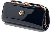Клатч женский синий лаковый на цепочке, фото 1