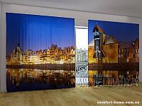 Фотоштора ПАНОРАМА 3D Вечерний Гданск, 2,7х5,0 м, арт. FRA-50000958