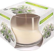 Ароматична свічка у склі Bispol Білі квіти 7 см (sn71-179)
