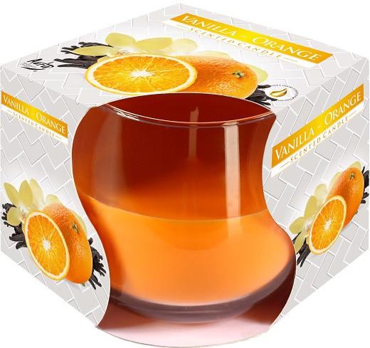 Свеча ароматическая в стекле Bispol Ваниль-апельсин 7 см (sn71-37)
