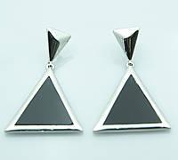 Серьги треугольники чёрные. Украшения недорого в Ровно. 2009