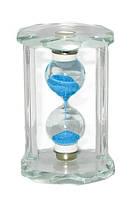 Песочные часы в стеклянном корпусе, синий песок