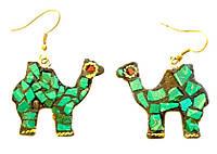 """Серьги """"Верблюд"""" со вставками из натуральных камней, зелёные"""