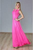 Платье в пол с гипюром розовое
