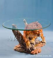 """Журнальный столик """"Леопард"""" из полистоуна со стеклянной столешней ALF 09009"""