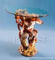 """Журнальный столик """"Лошади"""" из полистоуна со стеклянной столешней ALF 09015"""