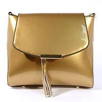 Лаковая сумочка через плечо 5036 золотистая, расцветки в наличии