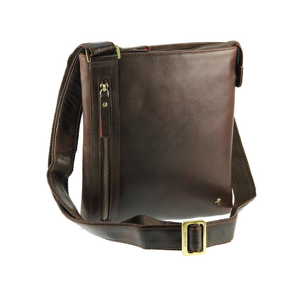 e599847a584e Мужская кожаная сумка-планшет на плечо Visconti Taylor ML25 коричневый