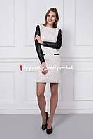 Платье модное с кожаными рукавами, только опт