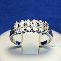 Серебряное кольцо с цирконием бесцветным 4827-р, фото 1
